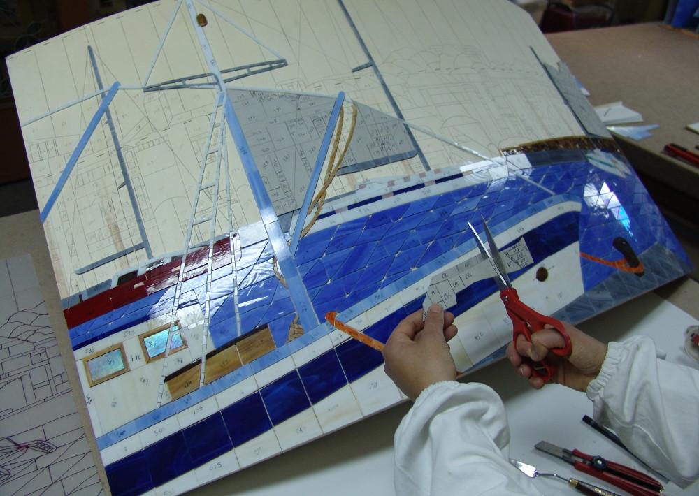 Isola di Procida -Chiaiolella - mosaico- quadro
