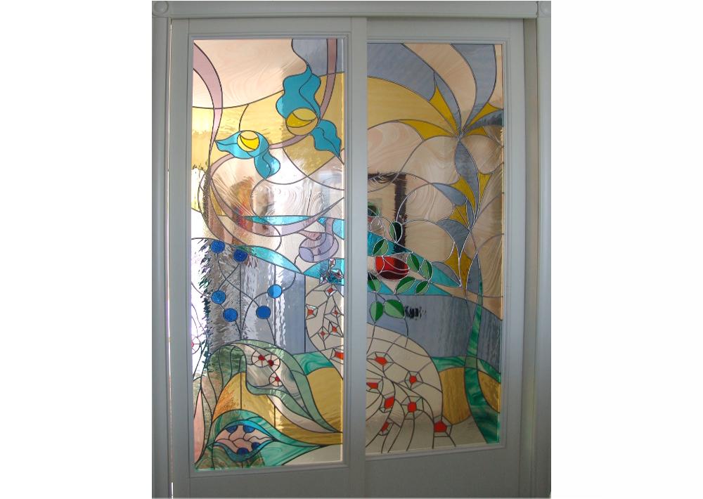 porte scorrevoli- astratta-moderna- mosaico-vetrata