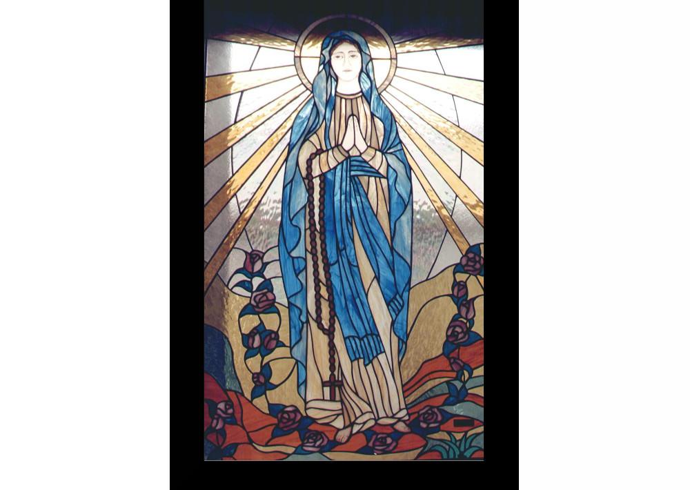 Madonna - lourdes - quadro- vetrata- cappella funeraria-chiesa