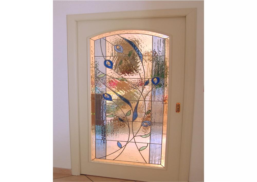 porta scorrevole- vetrata-mosaico-fiori- stilizzati- astratti