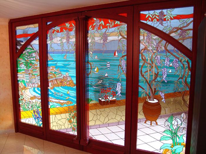 Vetrata in porte grandi  Mosaici e Vetri dArte Provenzano
